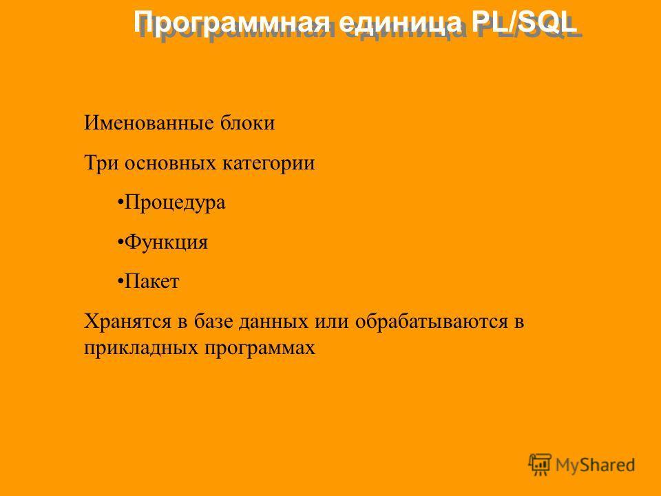 Программная единица PL/SQL Именованные блоки Три основных категории Процедура Функция Пакет Хранятся в базе данных или обрабатываются в прикладных программах