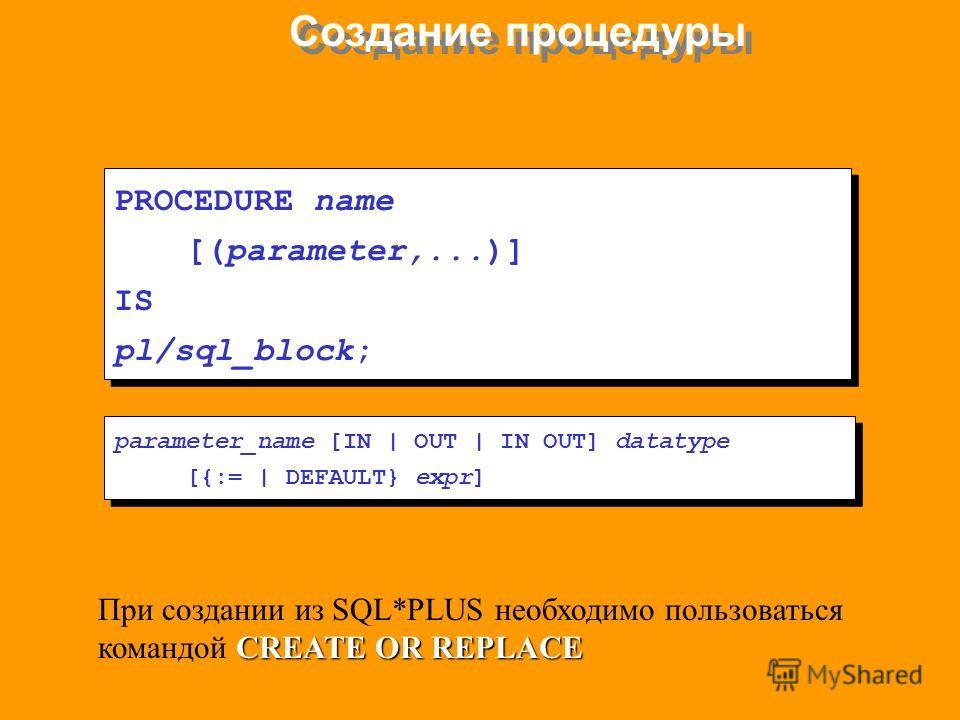 Создание процедуры PROCEDURE name [(parameter,...)] IS pl/sql_block; PROCEDURE name [(parameter,...)] IS pl/sql_block; parameter_name [IN   OUT   IN OUT] datatype [{:=   DEFAULT} expr] parameter_name [IN   OUT   IN OUT] datatype [{:=   DEFAULT} expr]