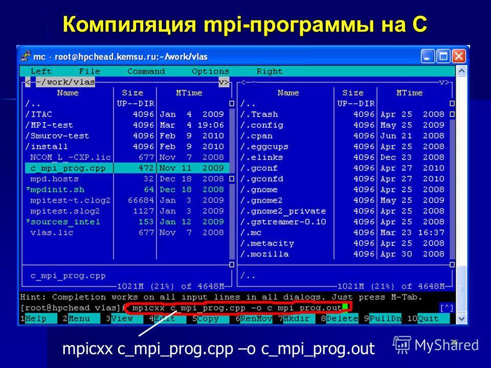 25 Компиляция mpi-программы на C mpicxx c_mpi_prog.cpp –o c_mpi_prog.out