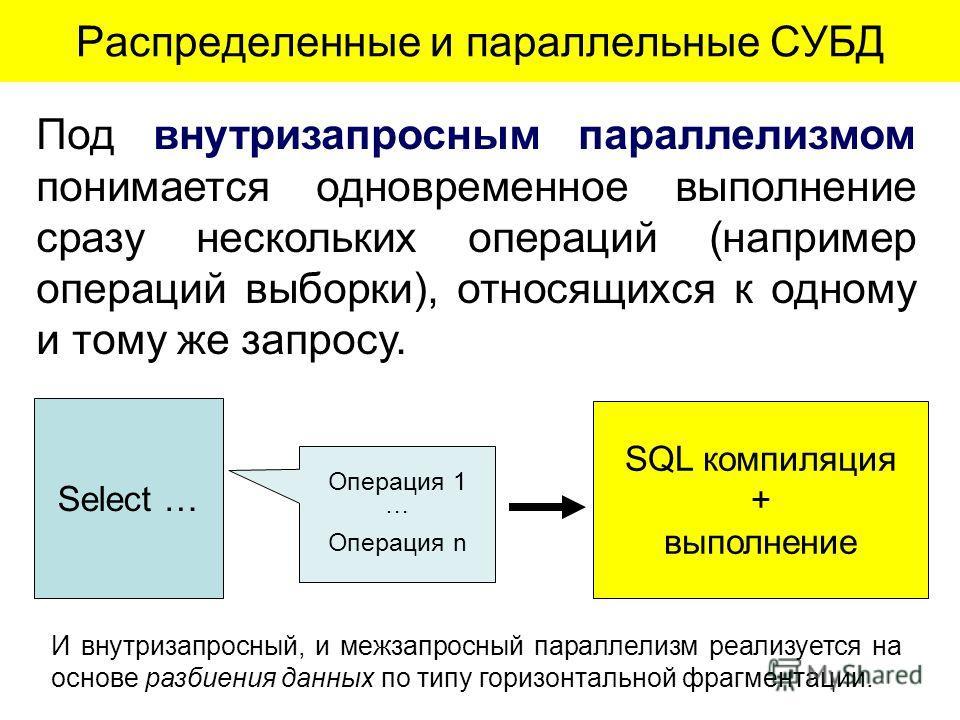 Под внутризапросным параллелизмом понимается одновременное выполнение сразу нескольких операций (например операций выборки), относящихся к одному и тому же запросу. Распределенные и параллельные СУБД И внутризапросный, и межзапросный параллелизм реал