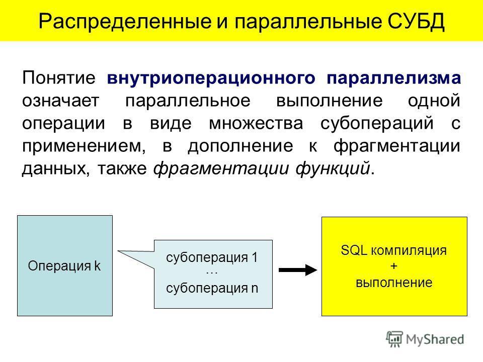 Понятие внутриоперационного параллелизма означает параллельное выполнение одной операции в виде множества субопераций с применением, в дополнение к фрагментации данных, также фрагментации функций. Распределенные и параллельные СУБД SQL компиляция + в
