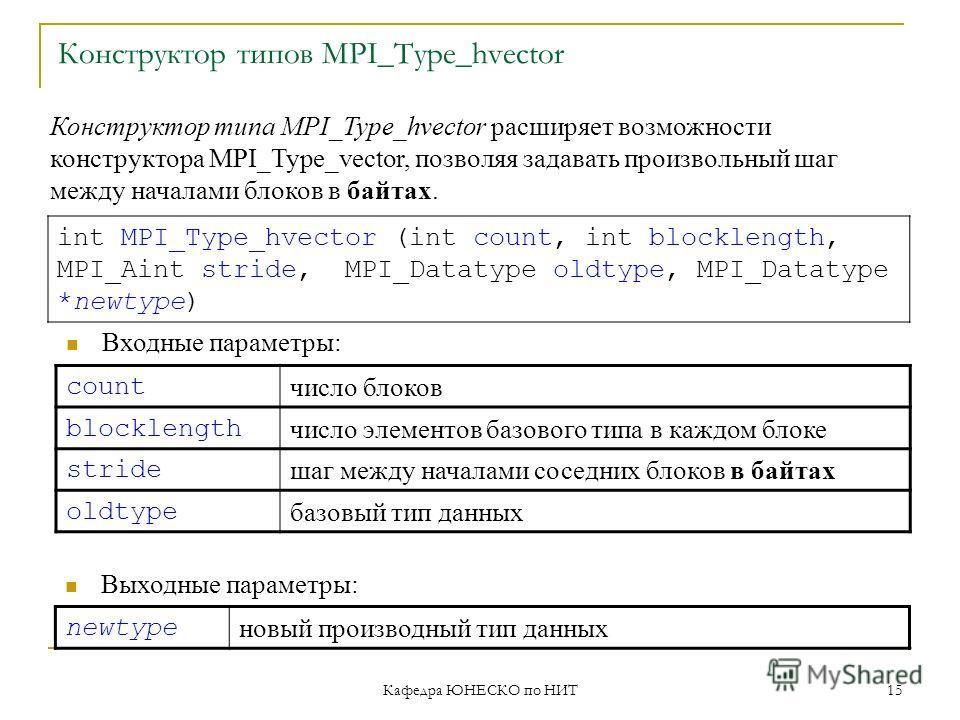 Кафедра ЮНЕСКО по НИТ 15 Конструктор типов MPI_Type_hvector count число блоков blocklength число элементов базового типа в каждом блоке stride шаг между началами соседних блоков в байтах oldtype базовый тип данных int MPI_Type_hvector (int count, int