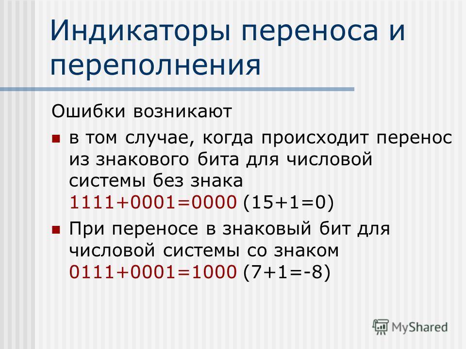 Индикаторы переноса и переполнения Ошибки возникают в том случае, когда происходит перенос из знакового бита для числовой системы без знака 1111+0001=0000 (15+1=0) При переносе в знаковый бит для числовой системы со знаком 0111+0001=1000 (7+1=-8)