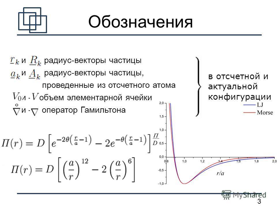 3 3 и радиус-векторы частицы и радиус-векторы частицы, проведенные из отсчетного атома и объем элементарной ячейки и оператор Гамильтона Обозначения в отсчетной и актуальной конфигурации