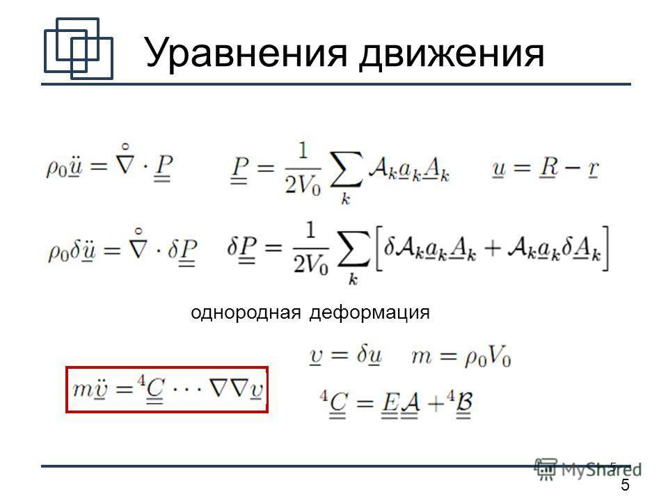 5 5 Уравнения движения однородная деформация