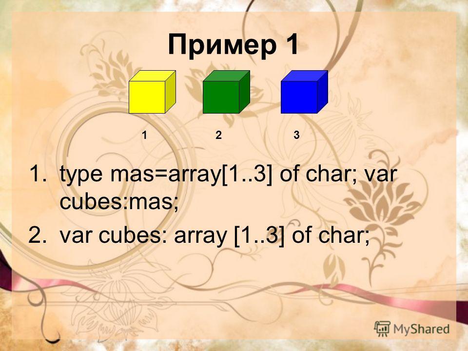 Пример 1 1.type mas=array[1..3] of char; var cubes:mas; 2.var cubes: array [1..3] of char; 123