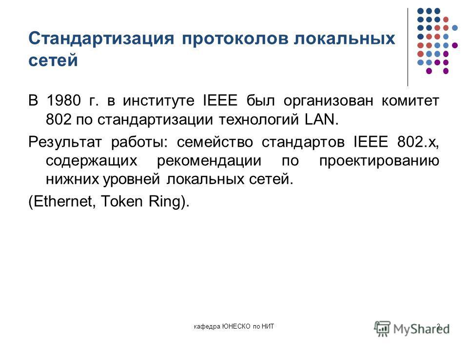 Стандартизация протоколов локальных сетей В 1980 г. в институте IEEE был организован комитет 802 по стандартизации технологий LAN. Результат работы: семейство стандартов IEEE 802.x, содержащих рекомендации по проектированию нижних уровней локальных с