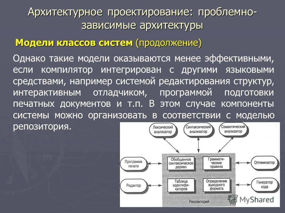 Архитектурное проектирование: проблемно- зависимые архитектуры Модели классов систем (продолжение) Однако такие модели оказываются менее эффективными, если компилятор интегрирован с другими языковыми средствами, например системой редактирования струк