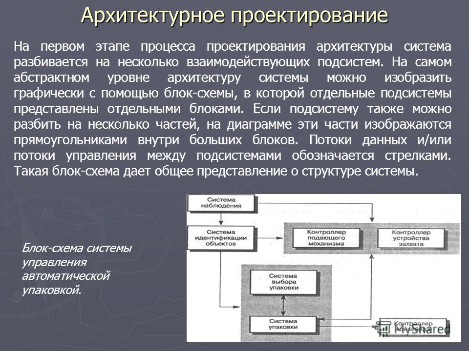 Архитектурное проектирование На первом этапе процесса проектирования архитектуры система разбивается на несколько взаимодействующих подсистем. На самом абстрактном уровне архитектуру системы можно изобразить графически с помощью блок-схемы, в которой