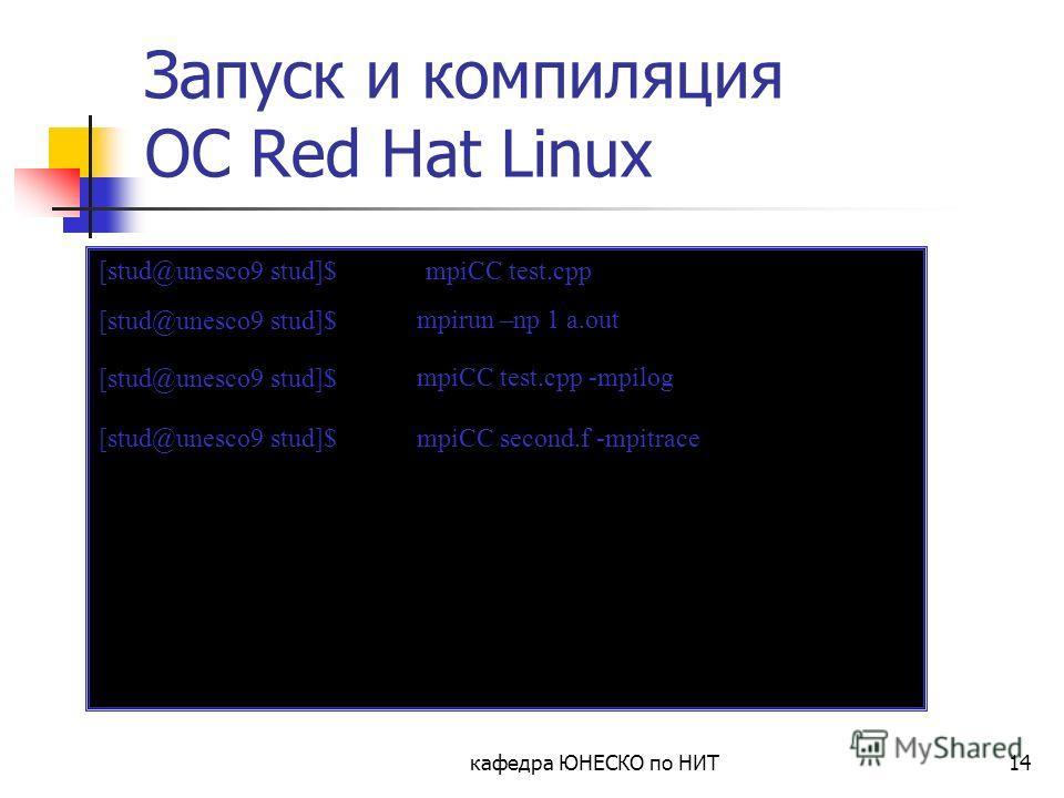 кафедра ЮНЕСКО по НИТ14 Запуск и компиляция ОС Red Hat Linux [stud@unesco9 stud]$ mpiCC test.cpp [stud@unesco9 stud]$ mpirun –np 1 a.out [stud@unesco9 stud]$ mpiCC test.cpp -mpilog [stud@unesco9 stud]$ mpiCC second.f -mpitrace