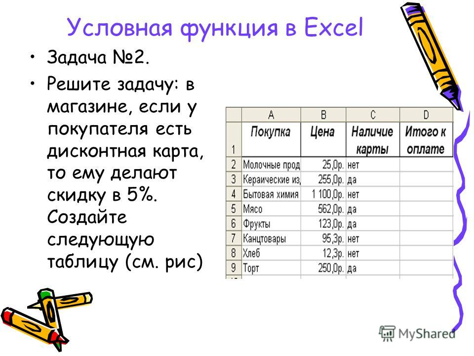 Условная функция в Excel Задача 2. Решите задачу: в магазине, если у покупателя есть дисконтная карта, то ему делают скидку в 5%. Создайте следующую таблицу (см. рис)