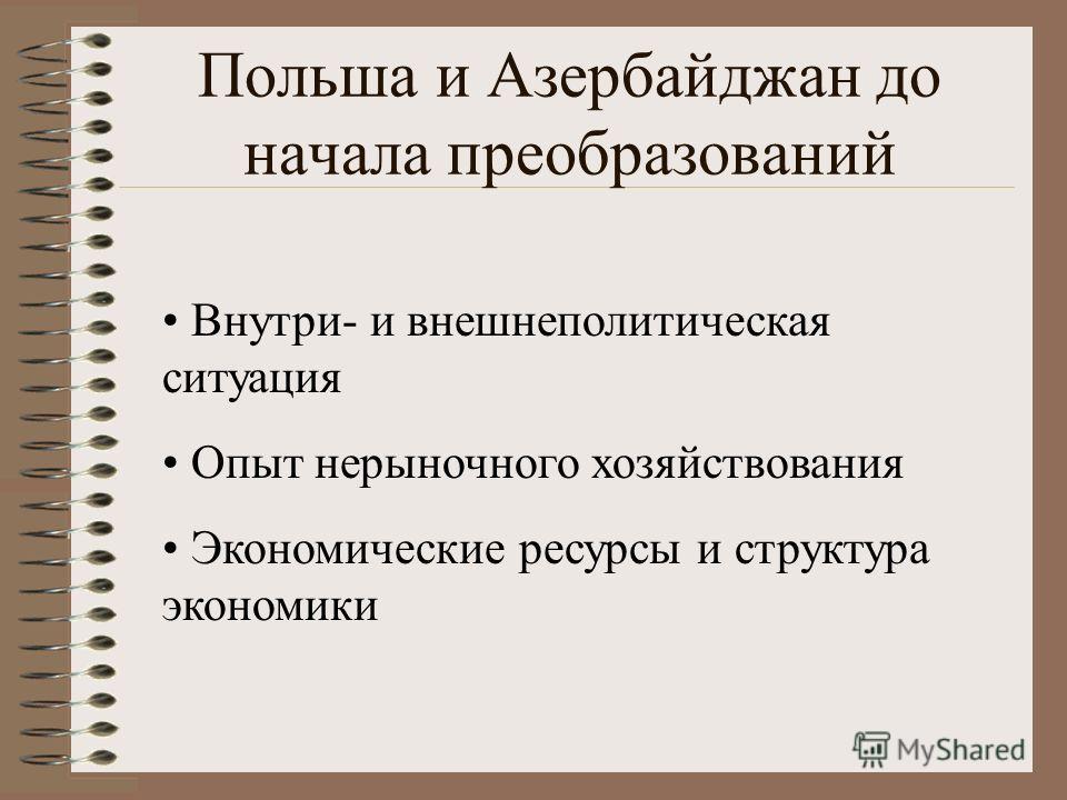 Польша и Азербайджан до начала преобразований Внутри- и внешнеполитическая ситуация Опыт нерыночного хозяйствования Экономические ресурсы и структура экономики