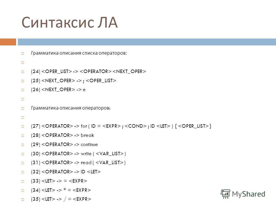 Синтаксис ЛА Грамматика описания списка операторов : (24) -> (25) -> ; (26) -> e Грамматика описания операторов : (27) -> for ( ID = ; ; ID ) { } (28) -> break (29) -> continue (30) -> write ( ) (31) -> read ( ) (32) -> ID (33) -> = (34) -> * = (35)