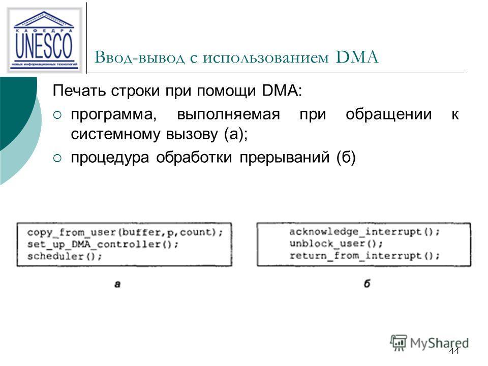 44 Ввод-вывод с использованием DMA Печать строки при помощи DMA: программа, выполняемая при обращении к системному вызову (а); процедура обработки прерываний (б)