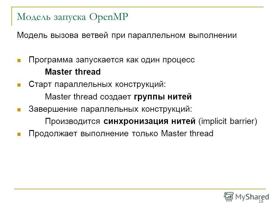 18 Модель запуска OpenMP Модель вызова ветвей при параллельном выполнении Программа запускается как один процесс Master thread Старт параллельных конструкций: Master thread создает группы нитей Завершение параллельных конструкций: Производится синхро