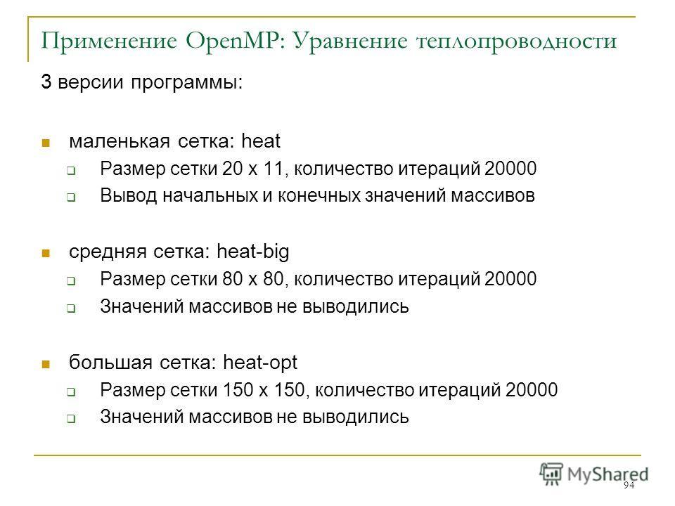94 Применение OpenMP: Уравнение теплопроводности 3 версии программы: маленькая сетка: heat Размер сетки 20 x 11, количество итераций 20000 Вывод начальных и конечных значений массивов средняя сетка: heat-big Размер сетки 80 x 80, количество итераций