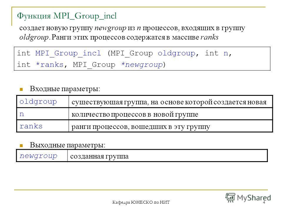 Кафедра ЮНЕСКО по НИТ 4 Функция MPI_Group_incl oldgroup существующая группа, на основе которой создается новая n количество процессов в новой группе ranks ранги процессов, вошедших в эту группу int MPI_Group_incl (MPI_Group oldgroup, int n, int *rank