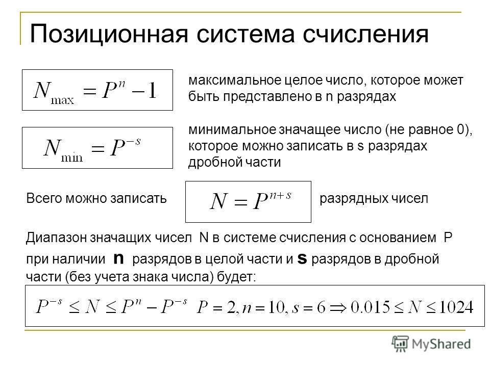 Позиционная система счисления максимальное целое число, которое может быть представлено в n разрядах минимальное значащее число (не равное 0), которое можно записать в s разрядах дробной части Всего можно записать разрядных чисел Диапазон значащих чи