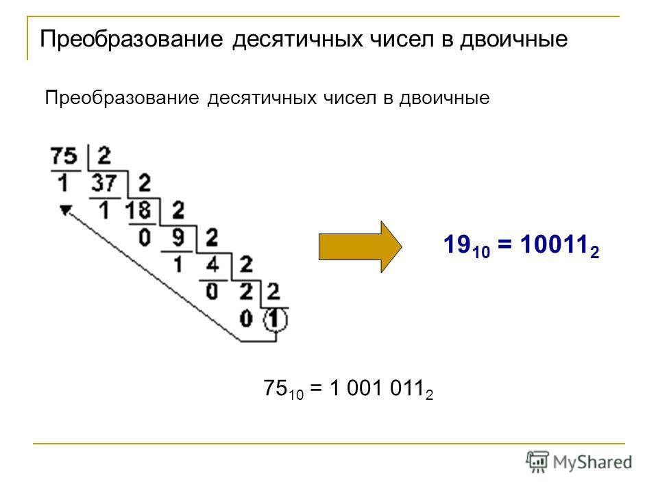 Преобразование десятичных чисел в двоичные 19 10 = 10011 2 75 10 = 1 001 011 2