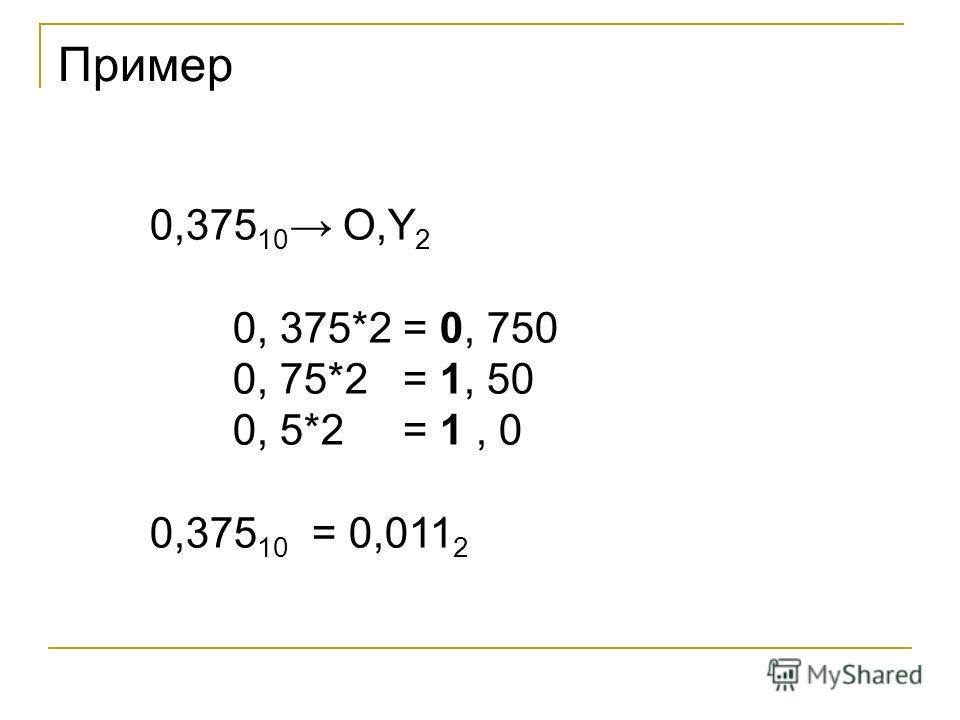 Пример 0,375 10 O,Y 2 0, 375*2 = 0, 750 0, 75*2 = 1, 50 0, 5*2 = 1, 0 0,375 10 = 0,011 2