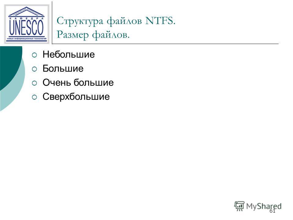 61 Структура файлов NTFS. Размер файлов. Небольшие Большие Очень большие Сверхбольшие