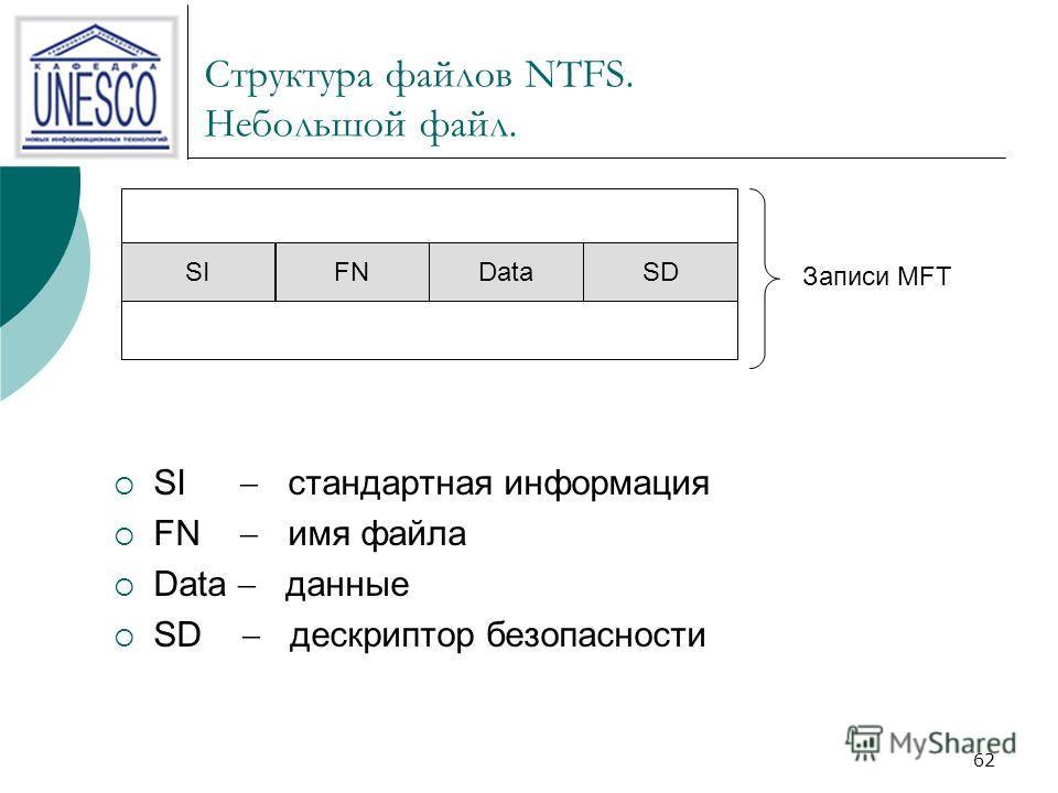 62 Структура файлов NTFS. Небольшой файл. SIFNDataSD Записи MFT SI стандартная информация FN имя файла Data данные SD дескриптор безопасности