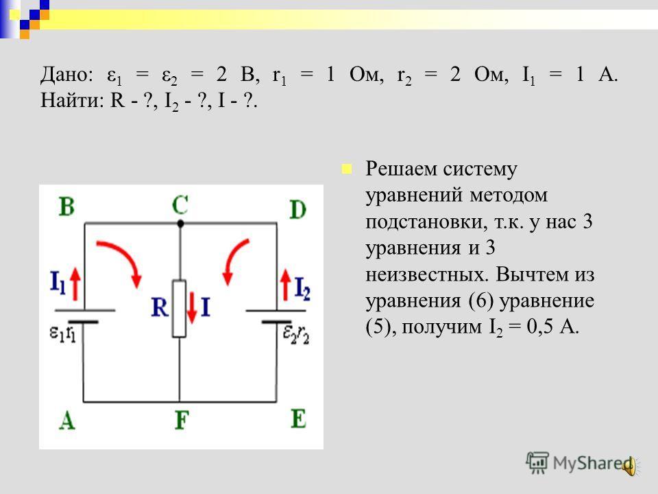 Подставив в уравнение (1) и (3) значения сопротивлений, э.д.с. и тока I 1, получим систему уравнений: Дано: ε 1 = ε 2 = 2 В, r 1 = 1 Ом, r 2 = 2 Ом, I 1 = 1 A. Найти: R - ?, I 2 - ?, I - ?.