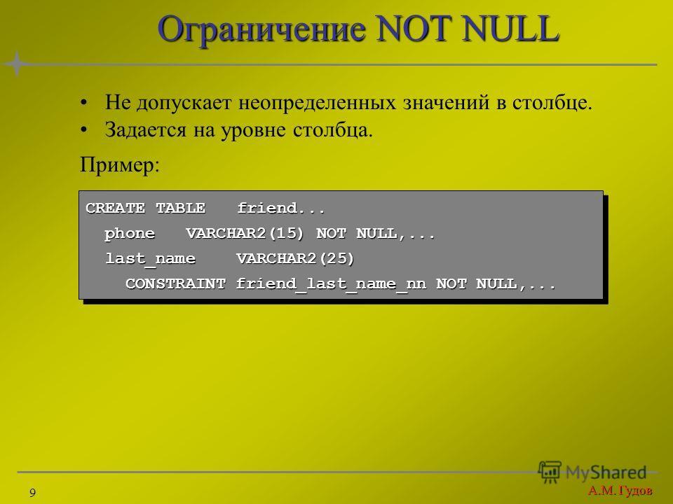 А.М. Гудов 9 Ограничение NOT NULL Не допускает неопределенных значений в столбце. Задается на уровне столбца. Пример: CREATE TABLEfriend... phoneVARCHAR2(15) NOT NULL,... phoneVARCHAR2(15) NOT NULL,... last_nameVARCHAR2(25) last_nameVARCHAR2(25) CONS
