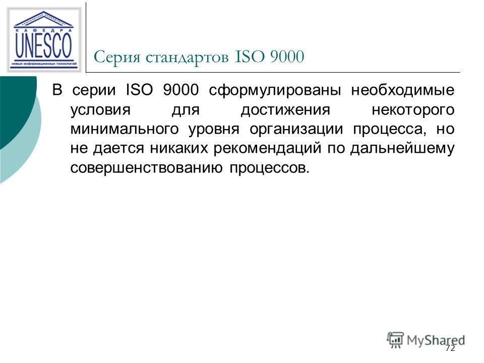 72 Серия стандартов ISO 9000 В серии ISO 9000 сформулированы необходимые условия для достижения некоторого минимального уровня организации процесса, но не дается никаких рекомендаций по дальнейшему совершенствованию процессов.