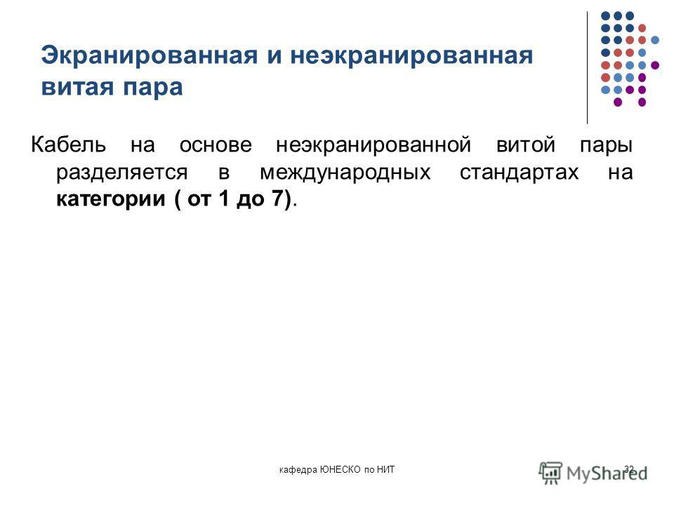 Экранированная и неэкранированная витая пара Кабель на основе неэкранированной витой пары разделяется в международных стандартах на категории ( от 1 до 7). кафедра ЮНЕСКО по НИТ32