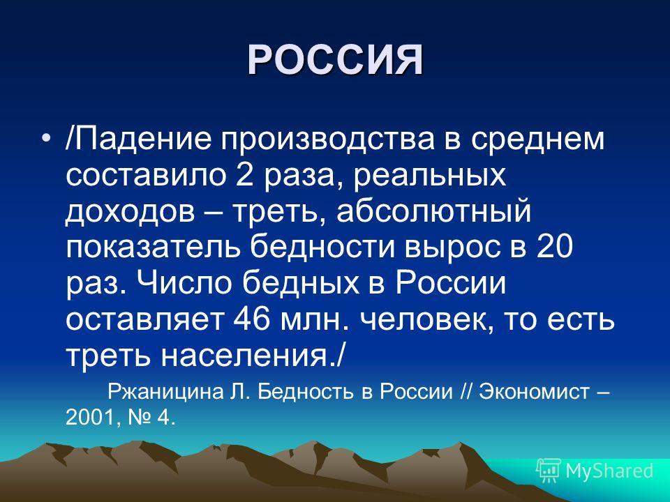 РОССИЯ /Падение производства в среднем составило 2 раза, реальных доходов – треть, абсолютный показатель бедности вырос в 20 раз. Число бедных в России оставляет 46 млн. человек, то есть треть населения./ Ржаницина Л. Бедность в России // Экономист –