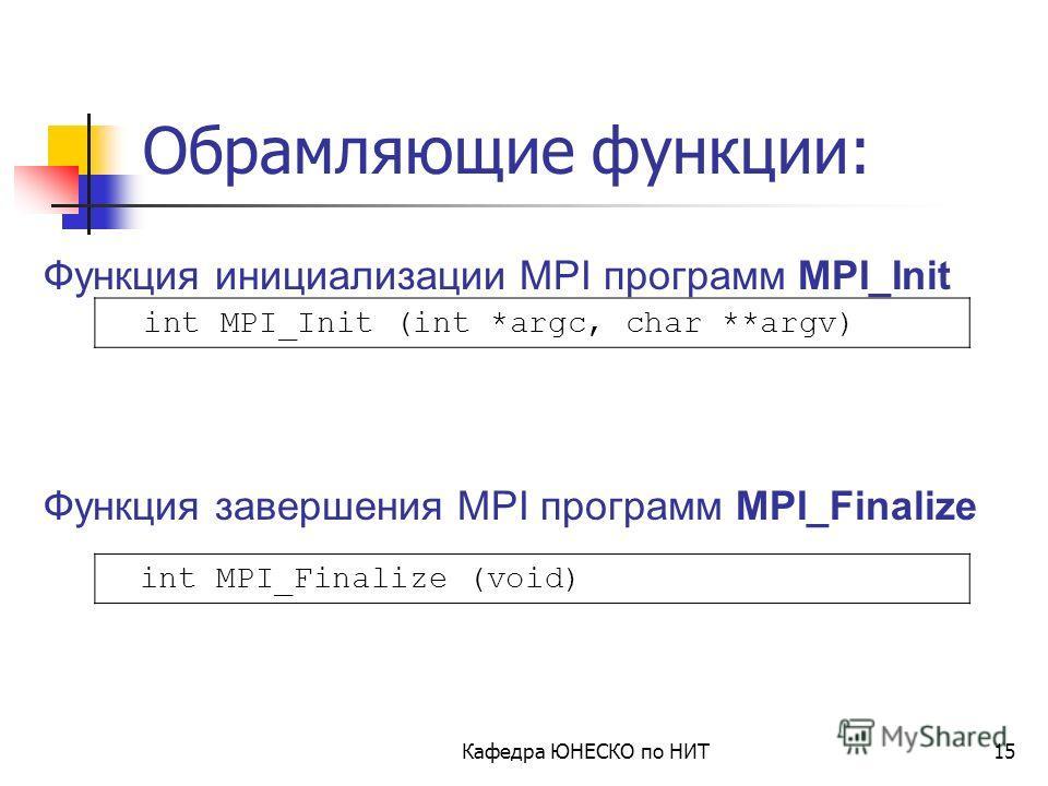 Midnight Commander F3 – просмотр файла F4 – редактирование F5 – копирование файла F6 – перемещение файла F7 – создание новой директории Кафедра ЮНЕСКО по НИТ14 [stud@hpchead stud]$ gcc test.c –o test.out [stud@hpchead stud]$./test.out Компиляция и за
