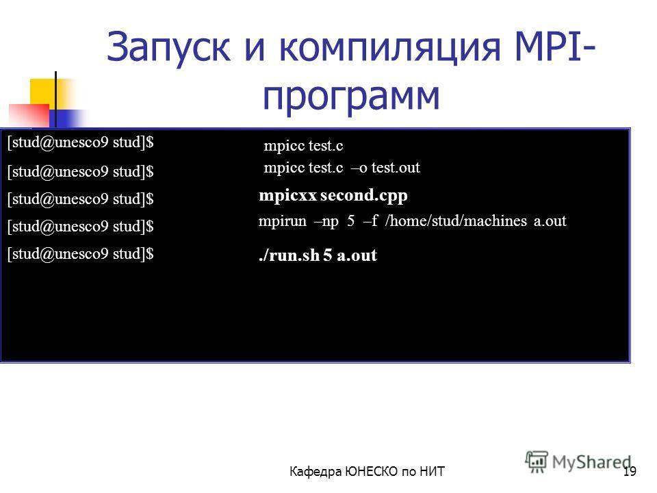 Кафедра ЮНЕСКО по НИТ18 Обрамляющие функции: Пример программы #include mpi.h #include int main( int argc, char *argv[ ] ) { int rank; MPI_Init( &argc, &argv ); MPI_Comm_rank( MPI_COMM_WORLD, &rank ); printf(