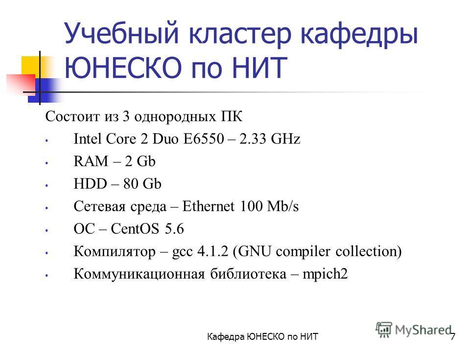 Кафедра ЮНЕСКО по НИТ6 Состав пакета MPICH1 функции инициализации и закрытия MPI процессов функции, реализующие коммуникационные операции типа точка-точка (в обмене участвуют 2 процесса – передающий и принимающий) функции, реализующие коллективные оп