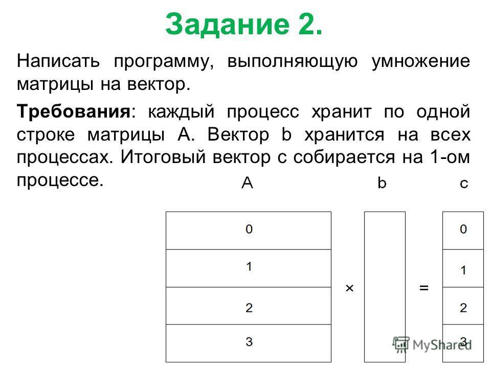 Задание 2. Написать программу, выполняющую умножение матрицы на вектор. Требования: каждый процесс хранит по одной строке матрицы A. Вектор b хранится на всех процессах. Итоговый вектор c собирается на 1-ом процессе.