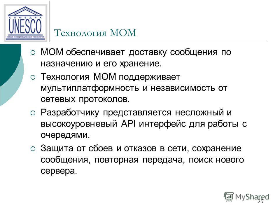 25 Технология MOM MOM обеспечивает доставку сообщения по назначению и его хранение. Технология MOM поддерживает мультиплатформность и независимость от сетевых протоколов. Разработчику представляется несложный и высокоуровневый API интерфейс для работ