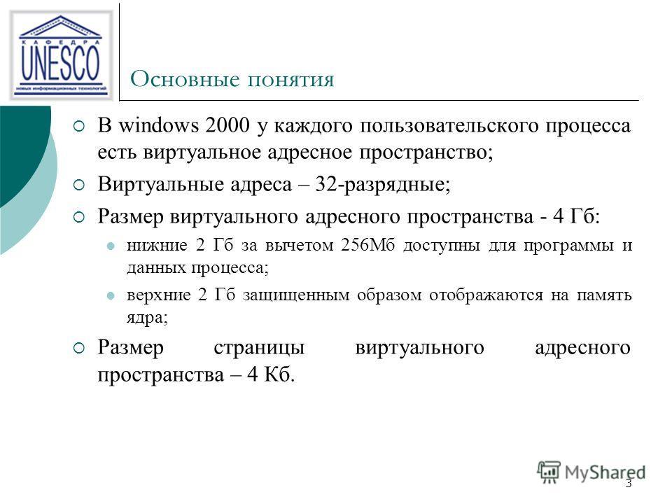 3 Основные понятия В windows 2000 у каждого пользовательского процесса есть виртуальное адресное пространство; Виртуальные адреса – 32-разрядные; Размер виртуального адресного пространства - 4 Гб: нижние 2 Гб за вычетом 256Мб доступны для программы и