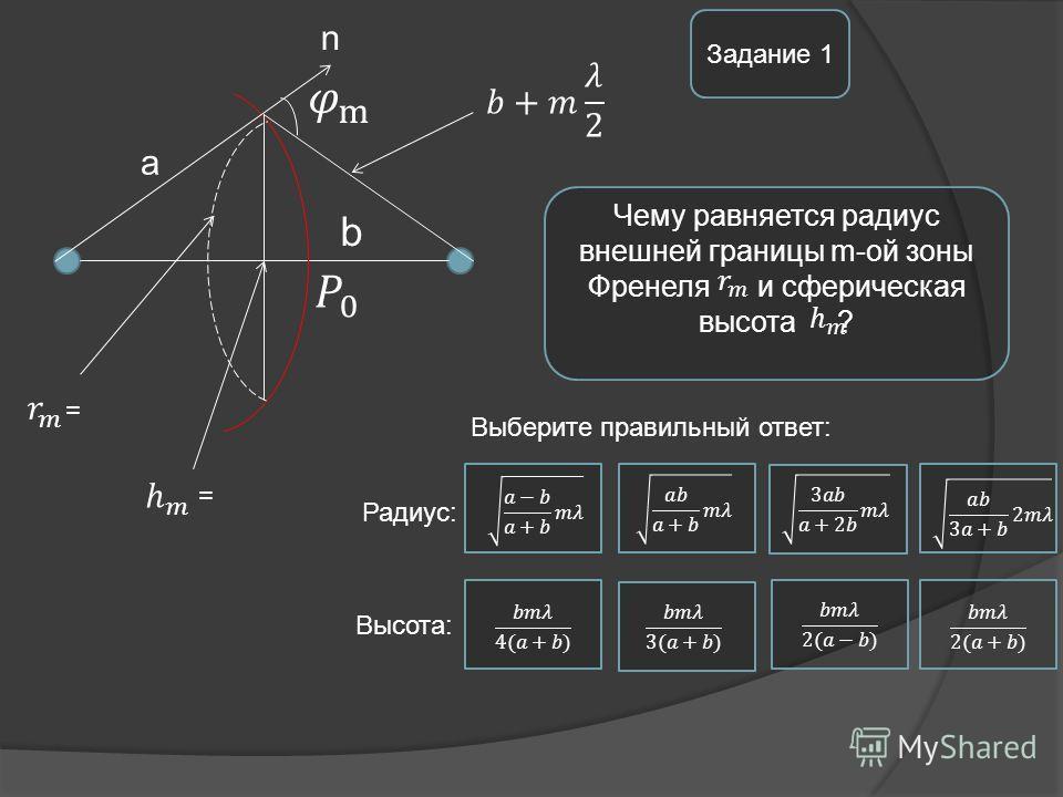 Чему равняется радиус внешней границы m-ой зоны Френеля и сферическая высота ? Задание 1 b a n Выберите правильный ответ: Радиус: Высота: = =