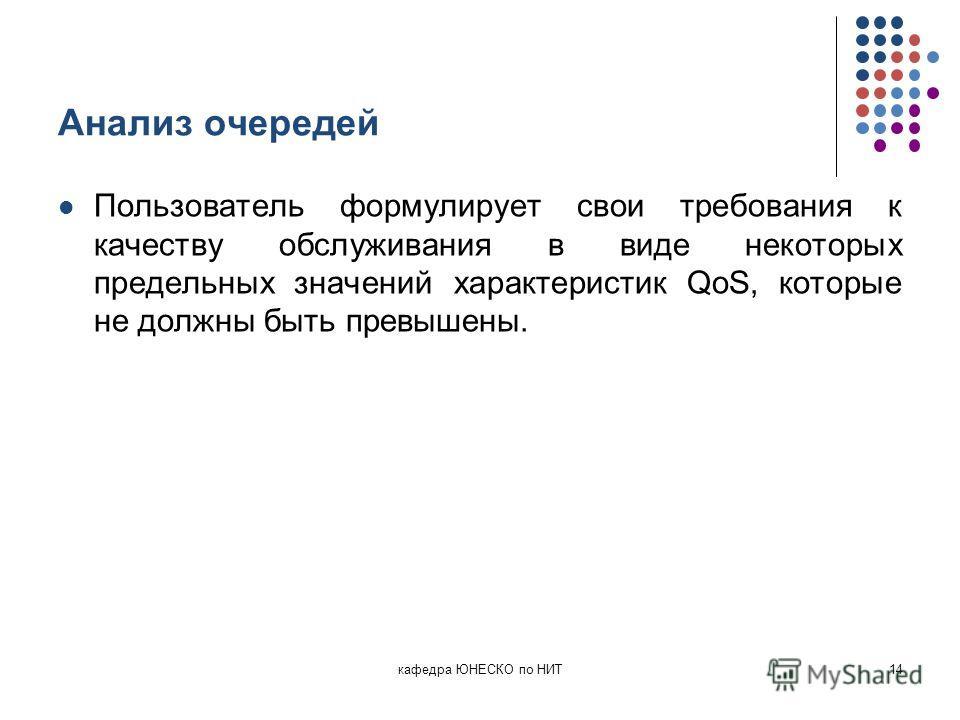 Анализ очередей Пользователь формулирует свои требования к качеству обслуживания в виде некоторых предельных значений характеристик QoS, которые не должны быть превышены. кафедра ЮНЕСКО по НИТ14