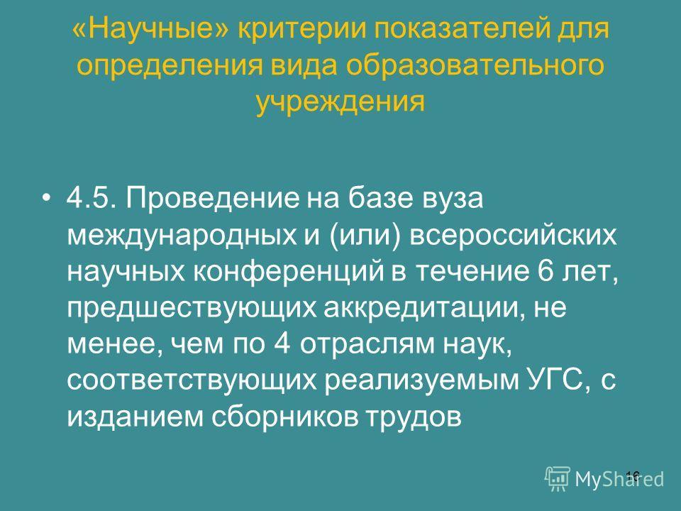 «Научные» критерии показателей для определения вида образовательного учреждения 4.5. Проведение на базе вуза международных и (или) всероссийских научных конференций в течение 6 лет, предшествующих аккредитации, не менее, чем по 4 отраслям наук, соотв