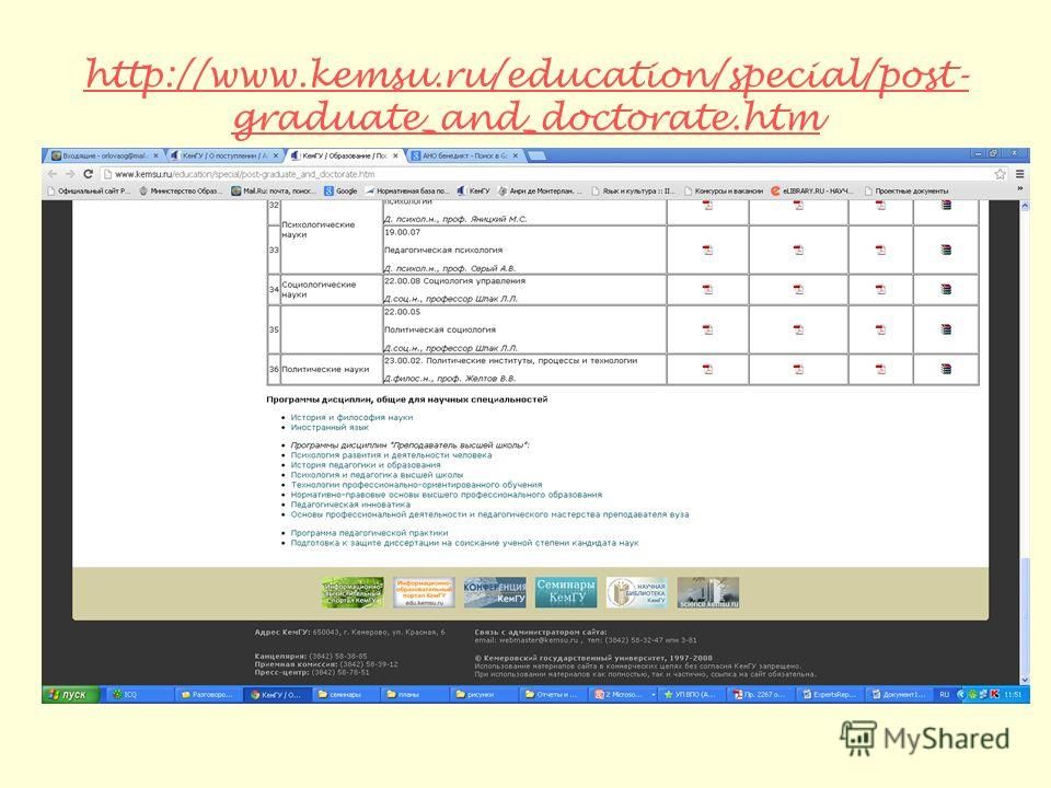 http://www.kemsu.ru/education/special/post- graduate_and_doctorate.htm