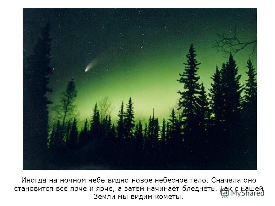 Иногда на ночном небе видно новое небесное тело. Сначала оно становится все ярче и ярче, а затем начинает бледнеть. Так с нашей Земли мы видим кометы.