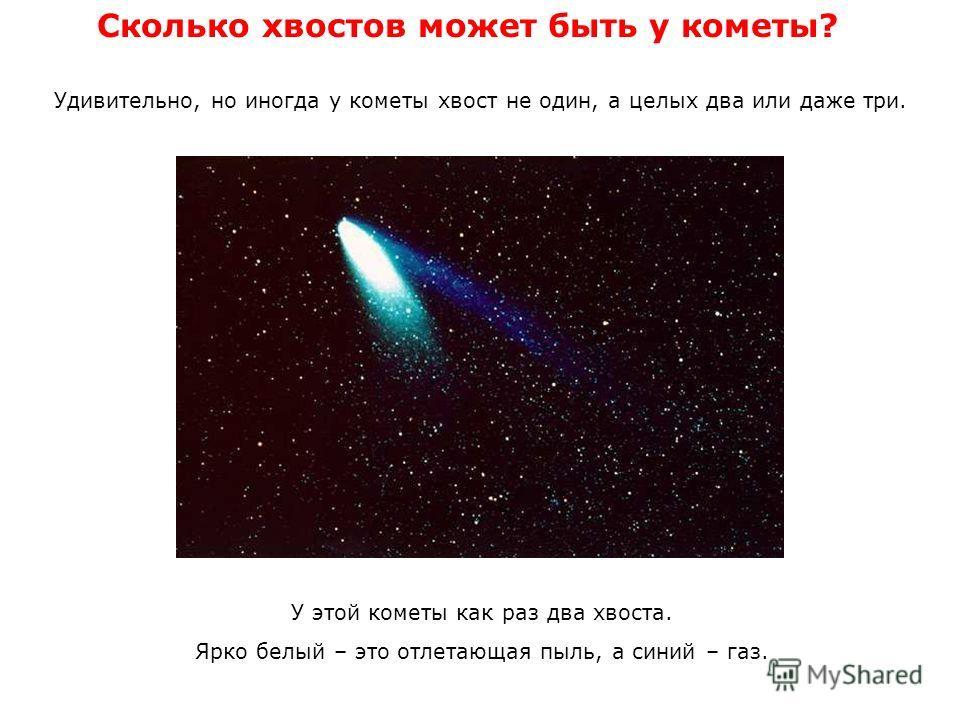 Сколько хвостов может быть у кометы? Удивительно, но иногда у кометы хвост не один, а целых два или даже три. У этой кометы как раз два хвоста. Ярко белый – это отлетающая пыль, а синий – газ.