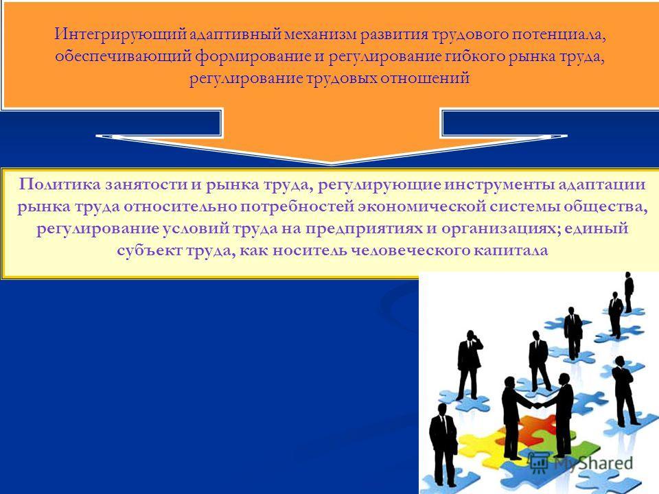 Интегрирующий адаптивный механизм развития трудового потенциала, обеспечивающий формирование и регулирование гибкого рынка труда, регулирование трудовых отношений Политика занятости и рынка труда, регулирующие инструменты адаптации рынка труда относи