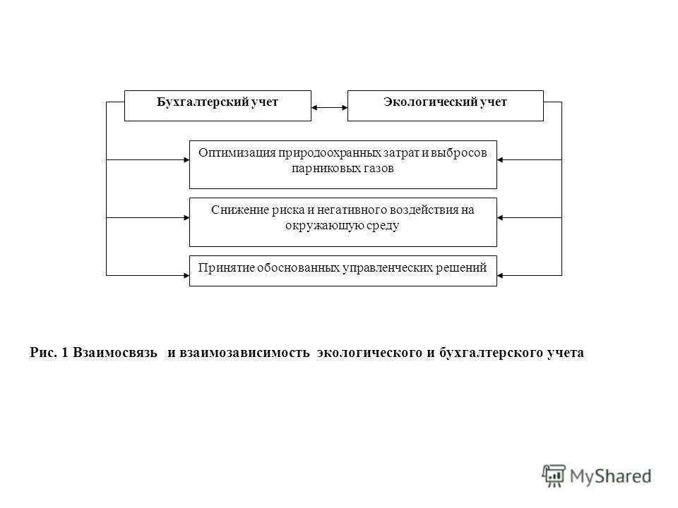 Бухгалтерский учетЭкологический учет Оптимизация природоохранных затрат и выбросов парниковых газов Снижение риска и негативного воздействия на окружающую среду Принятие обоснованных управленческих решений Рис. 1 Взаимосвязь и взаимозависимость эколо
