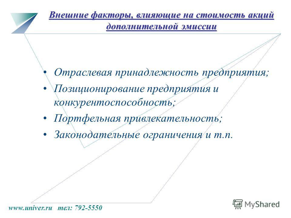 www.univer.ru тел: 792-5550 Внешние факторы, влияющие на стоимость акций дополнительной эмиссии Отраслевая принадлежность предприятия; Позиционирование предприятия и конкурентоспособность; Портфельная привлекательность; Законодательные ограничения и