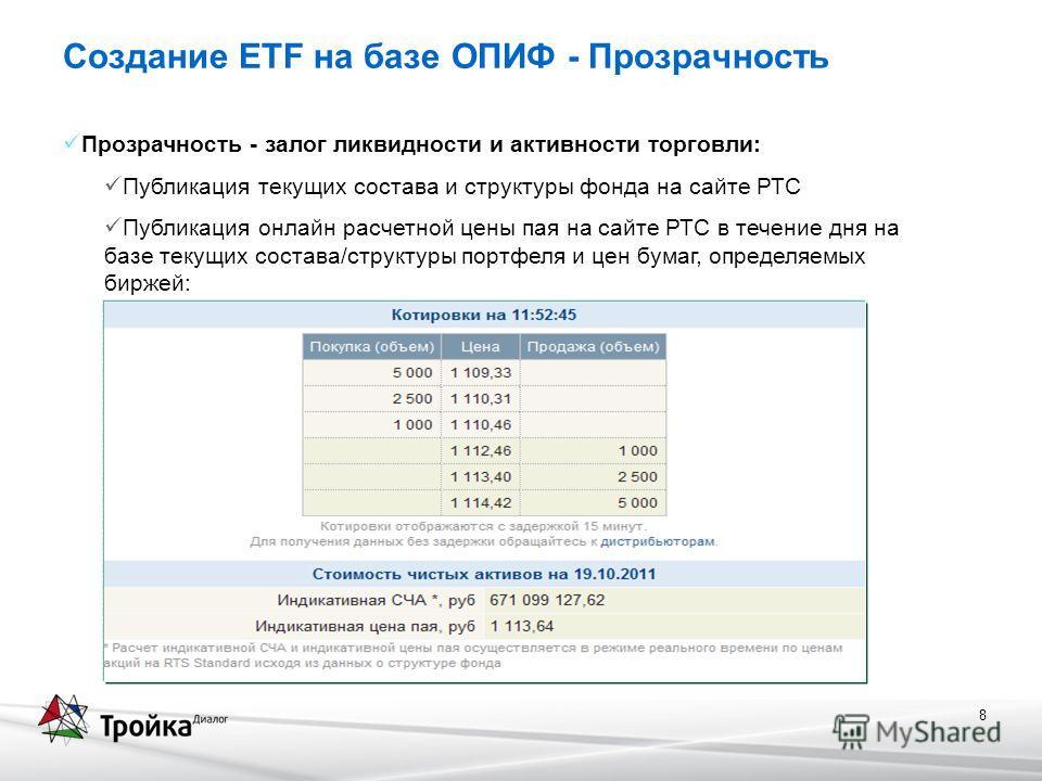 8 Создание ETF на базе ОПИФ - Прозрачность Прозрачность - залог ликвидности и активности торговли: Публикация текущих состава и структуры фонда на сайте РТС Публикация онлайн расчетной цены пая на сайте РТС в течение дня на базе текущих состава/струк