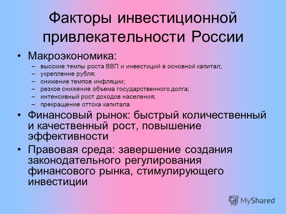 Факторы инвестиционной привлекательности России Макроэкономика: –высокие темпы роста ВВП и инвестиций в основной капитал; –укрепление рубля; –снижение темпов инфляции; –резкое снижение объема государственного долга; –интенсивный рост доходов населени