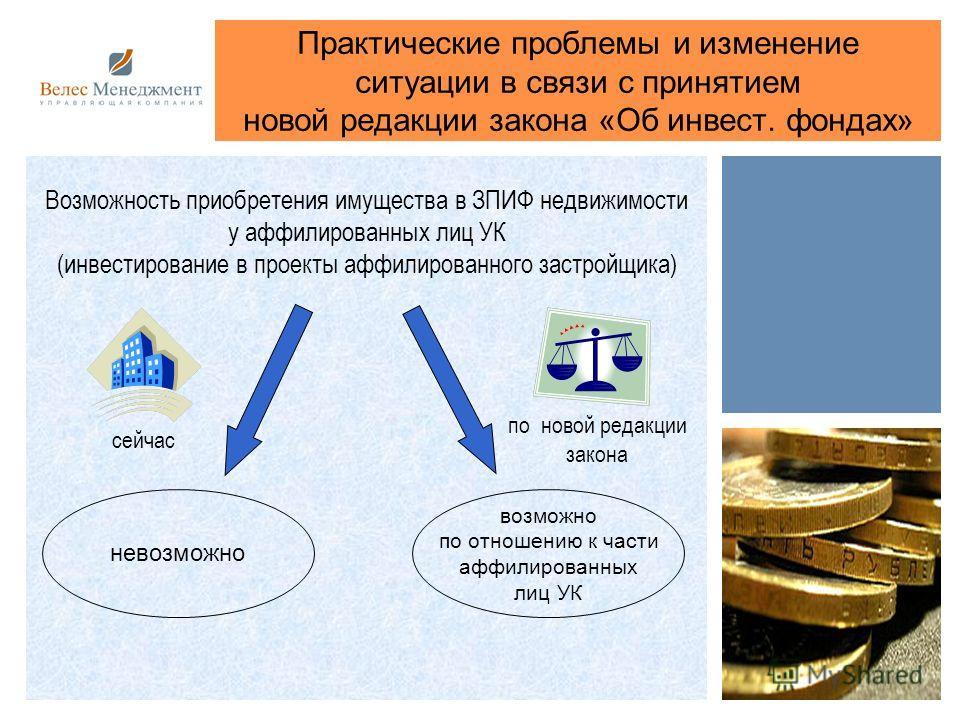 Практические проблемы и изменение ситуации в связи с принятием новой редакции закона «Об инвест. фондах» Возможность приобретения имущества в ЗПИФ недвижимости у аффилированных лиц УК (инвестирование в проекты аффилированного застройщика) невозможно