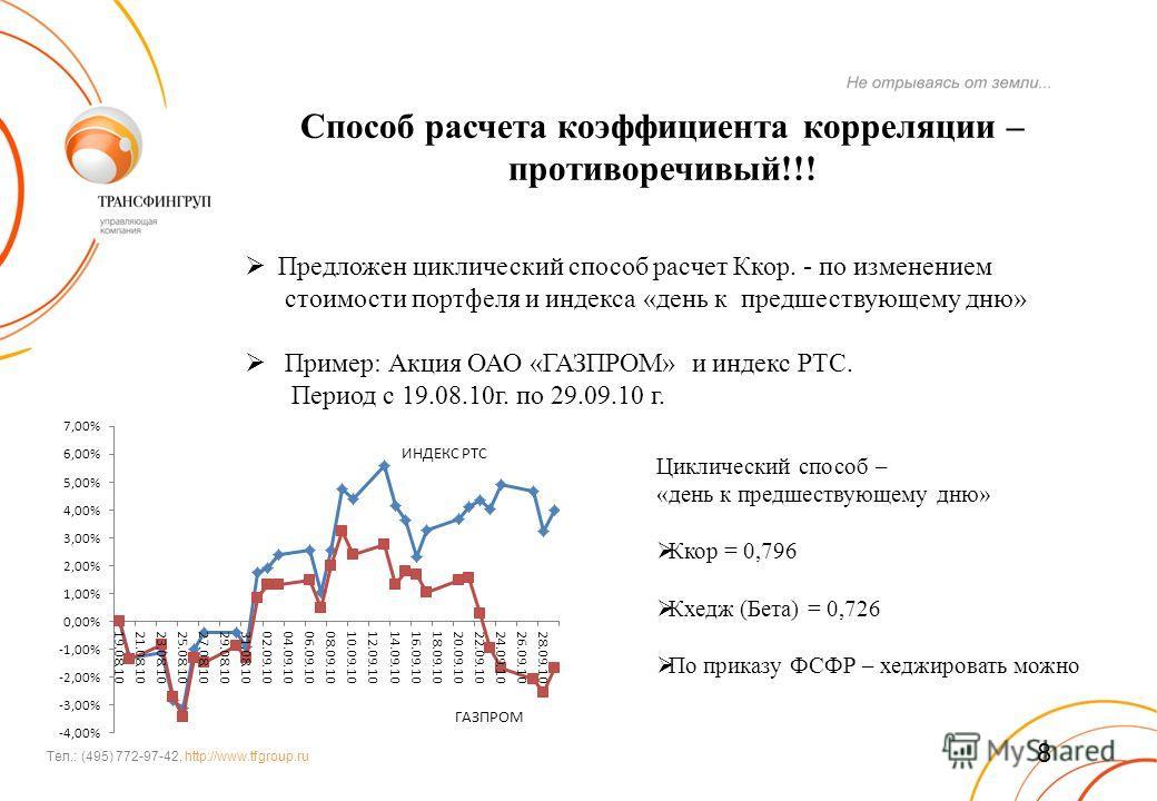 Тел.: (495) 772-97-42, http://www.tfgroup.ru Способ расчета коэффициента корреляции – противоречивый!!! Предложен циклический способ расчет Ккор. - по изменением стоимости портфеля и индекса «день к предшествующему дню» Пример: Акция ОАО «ГАЗПРОМ» и